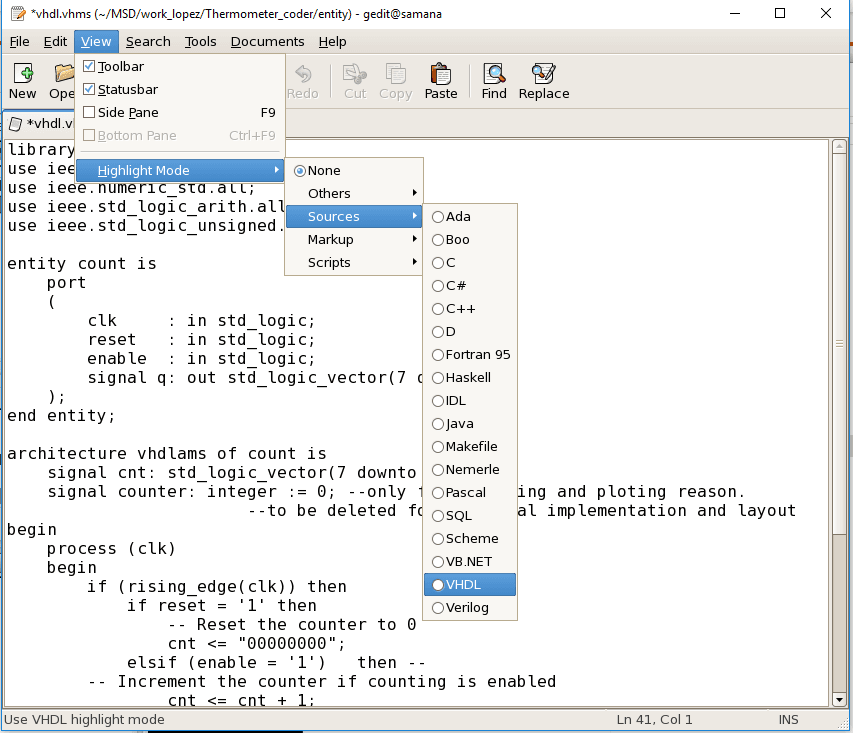 VHDL gedit text editor in cadence